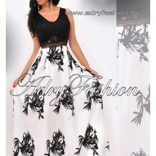 Fekete fehér mintás maxi alkalmi női ruha - fehér szoknyás