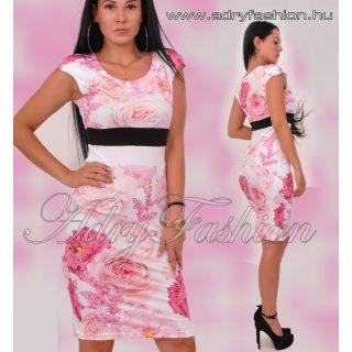 Warp Zone fehér pink - pasztel narancs passzos nyári ruha