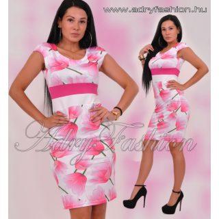 Warp Zone fehér alapon rózsaszín tulipános passzos nyári ruha
