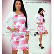 Warp Zone vékony pántú fehér alapon rózsaszín tulipános nyári ruha