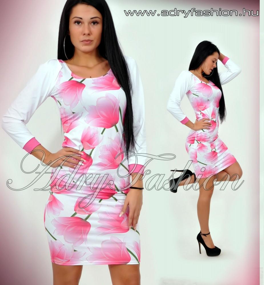 27bf320d3 Warp Zone vékony pántú fehér alapon rózsaszín tulipános nyári ruha ...