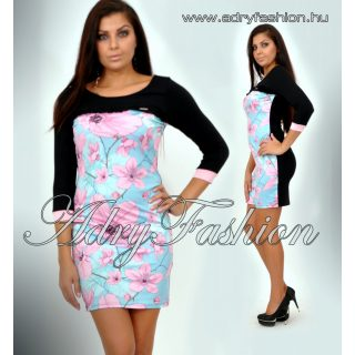 Warp Zone  virágos ruha fekete