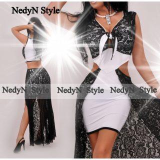 NedyN fekete fehér csipke - poliamid alkalmi női ruha