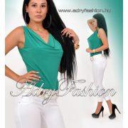Zöld színű kámzsás női felső