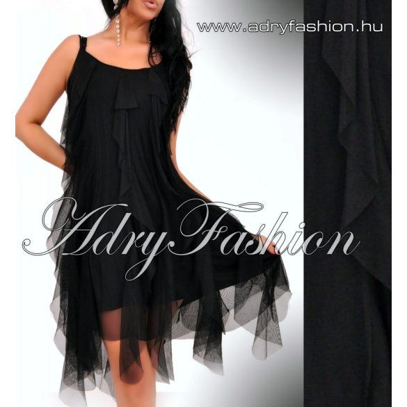 Fekete tüll fodros pántos alkalmi női ruha