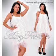 Fehér tüll fodros pántos alkalmi női ruha