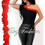 Fekete pántos női body piros virág dísszel