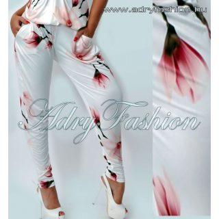 Törtfehér színű virág mintás zsebes női nadrág