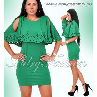 Vállán nyitott zöld áttört csipkedíszes női ruha