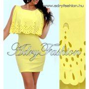 Sárga vállánál nyitott csipke díszes női ruha