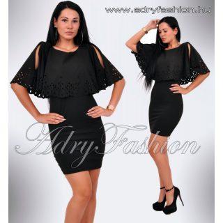 Vállán nyitott fekete áttört csipkedíszes női ruha