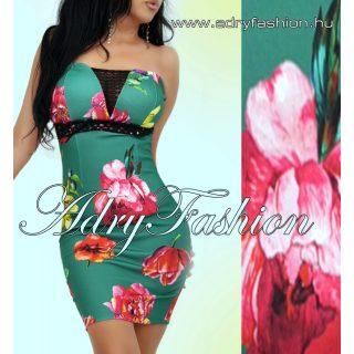 Zöld pántos csőruha színes virágokkal csipke dísszel alkalmi ruha