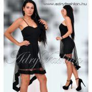 Fekete alkalmi hátul cipzáros muszlin alkalmi női ruha