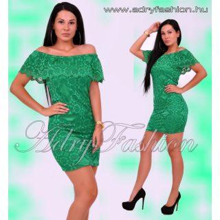 Elegáns zöld  csipke vállra húzható  női ruha