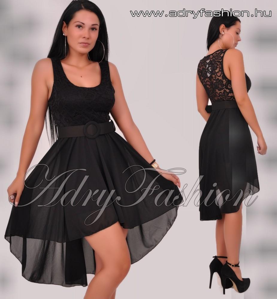 1e818e819573 Fekete felül csipke díszes muszlin alkalmi női ruha övvel ...