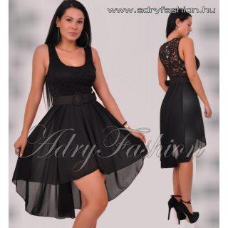 Fekete felül csipke díszes  muszlin  alkalmi női ruha övvel