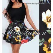 Fekete alapon színes virág mintás loknis szoknya