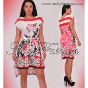 Rózsa mintás lenge nyáru ruha piros fehér derekán megköthető