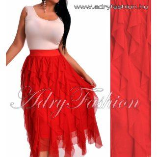 Piros gumis derekú tüll fodros női szoknya