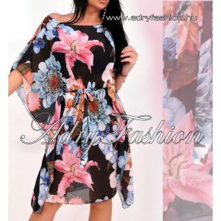 MUSZLIN lepel ruha - Fekete alapon szines virág mintás muszlin lepel ruha megkötővel