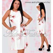 Fehér alapon rózsaszín virág mintás lenge nyári ruha
