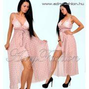 Mályva színű átlapolt karika mintás pántos női ruha