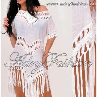 Fehér színű rojtos lenge  strand ruha
