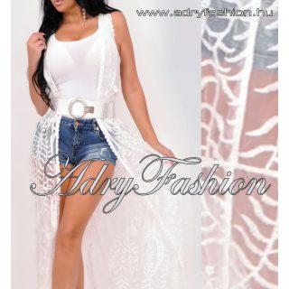 Fehér csipke kaftán  kardigán - strand ruha