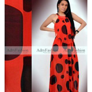 MISSQ   piros fekete pöttyös maxi női ruha