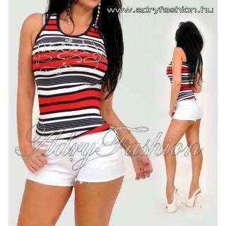 MISSQ Kék fehér piros csíkos trikó strasszos