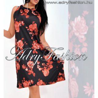 Fekete alapon piros virágos A  vonalú lenge női ruha