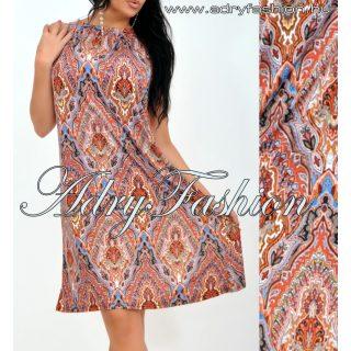 Barna színes barokk mintázatú A-vonalú lenge nyári ruha