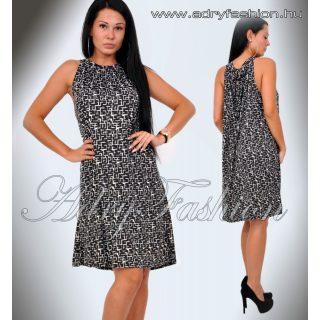 Fekete alapon fehér mintás A - vonalú lenge női ruha