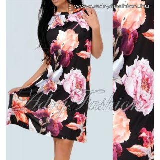 Fekete alapon színes virág mintázatú A-vonalú lenge nyári ruha