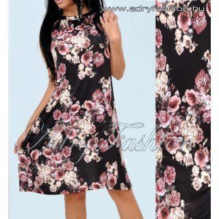 Fekete rózsa mintás A - vonalú lenge női ruha