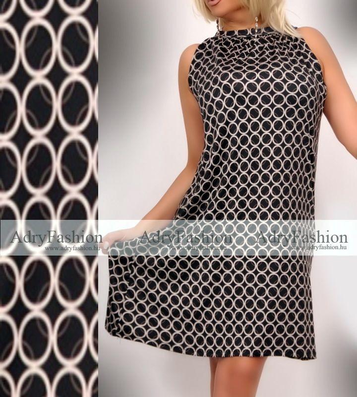 c1c8465bc Fekete drapp apró kör mintás A-vonalú lenge nyári ruha
