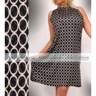 Fekete drapp apró kör mintás A-vonalú lenge nyári ruha