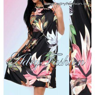 Fekete alapon színes levél mintás A - vonalú lenge női ruha