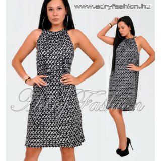 Fekete lánc mintás A-vonalú lenge nyári ruha