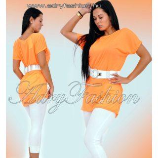 Neon narancs pamut vállra húzható lenge pamut ruha