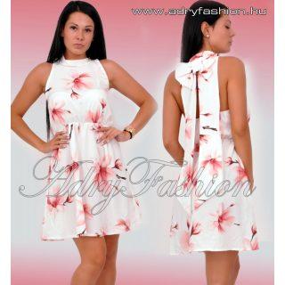 Törtfehér virág mintás hátán nagy masnis lenge nyári ruha