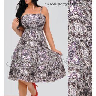 Mellénél gumírozott színes mintás női ruha