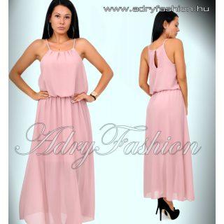 Muszlin púder rózsaszín maxi ruha