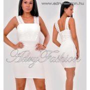 Fehér horgolt pántos elegáns női ruha