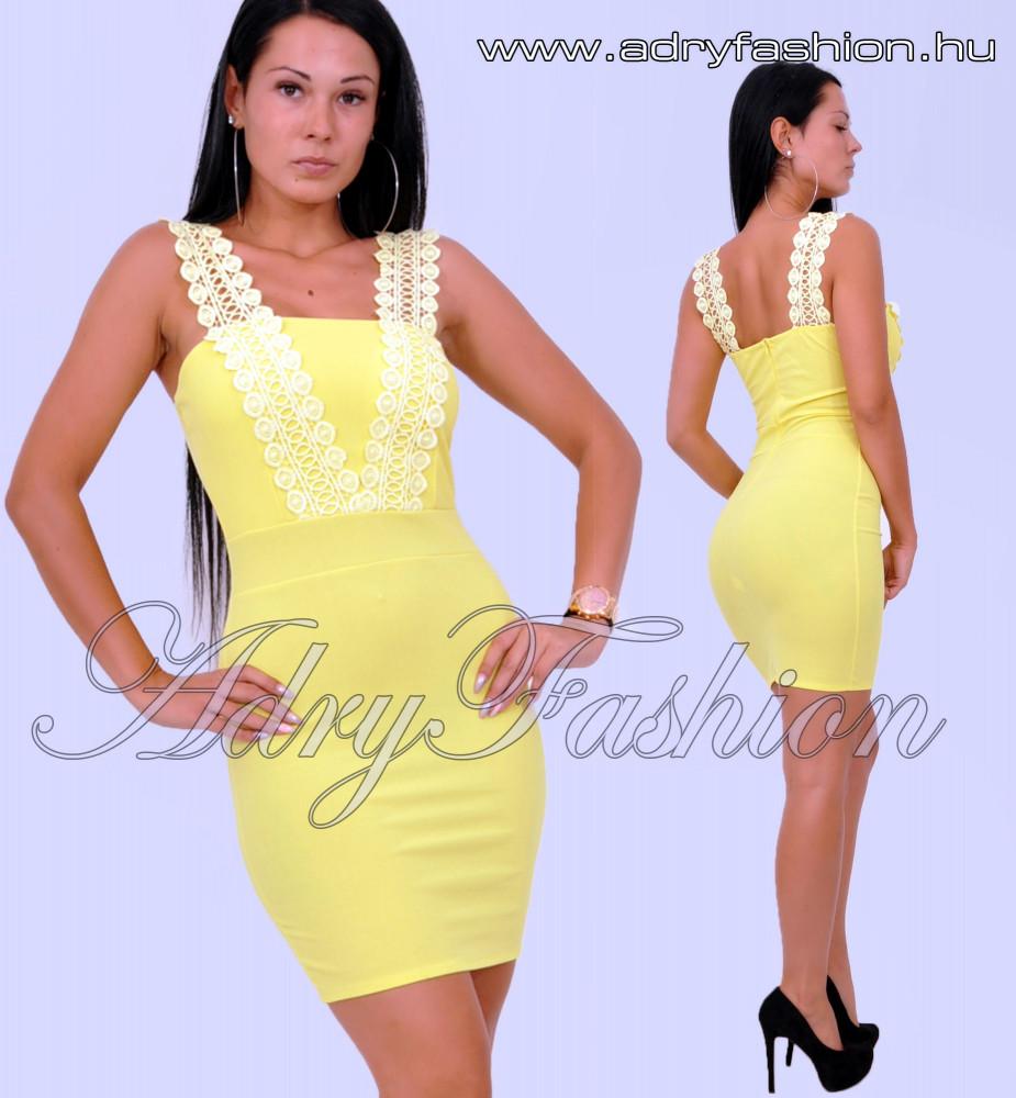 5c38c1320 Sárga horgolt pántos elegáns női ruha