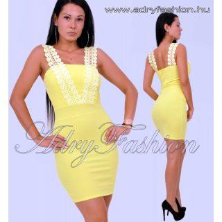 Sárga horgolt pántos elegáns női ruha