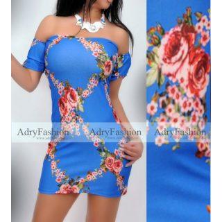 Királykék színű vállra húzható gumis passzos női ruha