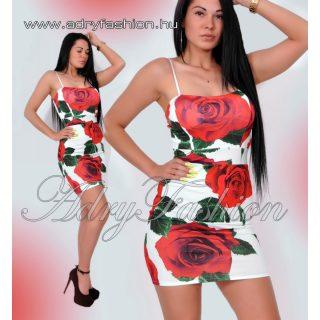 Fehér Rózsás vékony pántú női ruha fehér-piros Virág mintás alkalmi ruha