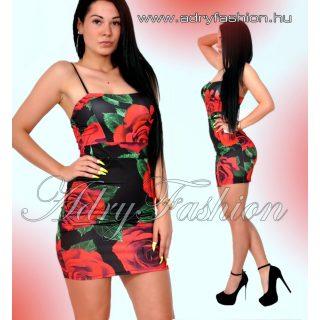 Fekete színű  Rózsás vékony pántú női ruha fekete-piros