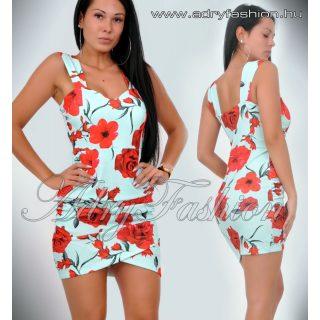 Menta Virágos passzos alul húzott női ruha